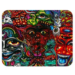Abstract Psychedelic Face Nightmare Eyes Font Horror Fantasy Artwork Double Sided Flano Blanket (medium)  by Nexatart