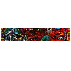 Abstract Psychedelic Face Nightmare Eyes Font Horror Fantasy Artwork Flano Scarf (large) by Nexatart