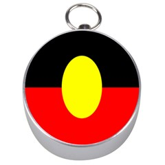 Flag Of Australian Aborigines Silver Compasses by Nexatart