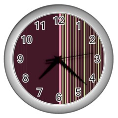Lines Wall Clocks (silver)  by ValentinaDesign