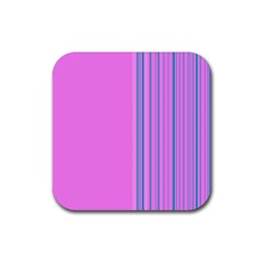 Lines Rubber Square Coaster (4 Pack)  by ValentinaDesign