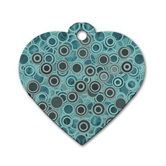 Abstract Aquatic Dream Dog Tag Heart (one Side) by Ivana