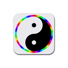 Rainbow Around Yinyang Rubber Coaster (square)