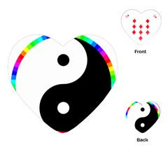 Rainbow Around Yinyang Playing Cards (heart)  by Nexatart