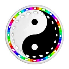 Rainbow Around Yinyang Round Filigree Ornament (two Sides) by Nexatart