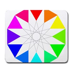 Rainbow Dodecagon And Black Dodecagram Large Mousepads