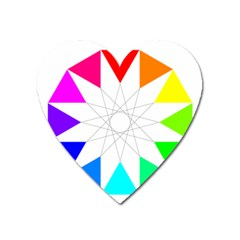 Rainbow Dodecagon And Black Dodecagram Heart Magnet by Nexatart