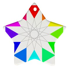 Rainbow Dodecagon And Black Dodecagram Star Ornament (two Sides)