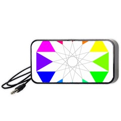 Rainbow Dodecagon And Black Dodecagram Portable Speaker (black) by Nexatart