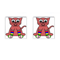 Cartoon Cat In Rainbow Socks Cufflinks (square) by Nexatart