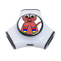 Cartoon Cat In Rainbow Socks 3 Port Usb Hub by Nexatart