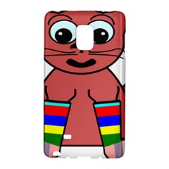 Cartoon Cat In Rainbow Socks Galaxy Note Edge by Nexatart