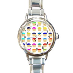 Colorful Cupcakes Pattern Round Italian Charm Watch by Nexatart