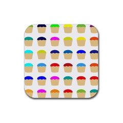 Colorful Cupcakes Pattern Rubber Coaster (square)  by Nexatart