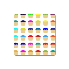 Colorful Cupcakes Pattern Square Magnet by Nexatart