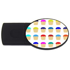 Colorful Cupcakes Pattern Usb Flash Drive Oval (4 Gb) by Nexatart