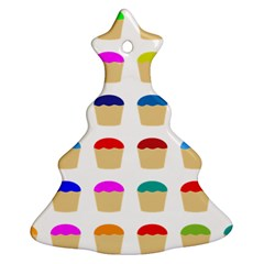 Colorful Cupcakes Pattern Christmas Tree Ornament (two Sides) by Nexatart