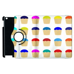 Colorful Cupcakes Pattern Apple Ipad 2 Flip 360 Case by Nexatart