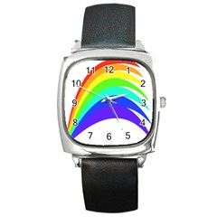 Rainbow Square Metal Watch by Nexatart