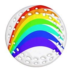 Rainbow Round Filigree Ornament (two Sides) by Nexatart
