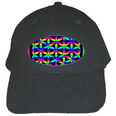 Rainbow Flower Of Life In Black Circle Black Cap