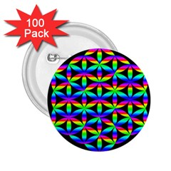 Rainbow Flower Of Life In Black Circle 2 25  Buttons (100 Pack)