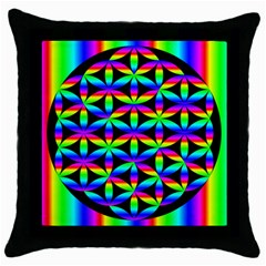 Rainbow Flower Of Life In Black Circle Throw Pillow Case (black) by Nexatart