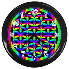 Rainbow Flower Of Life In Black Circle Wall Clocks (black) by Nexatart