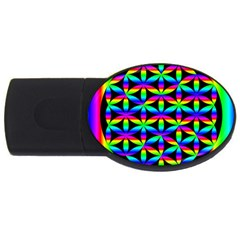 Rainbow Flower Of Life In Black Circle Usb Flash Drive Oval (2 Gb) by Nexatart