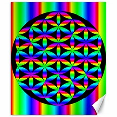 Rainbow Flower Of Life In Black Circle Canvas 20  X 24   by Nexatart