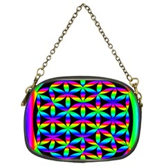 Rainbow Flower Of Life In Black Circle Chain Purses (one Side)  by Nexatart