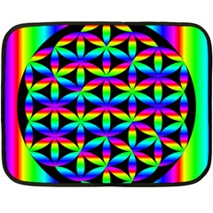 Rainbow Flower Of Life In Black Circle Fleece Blanket (mini) by Nexatart