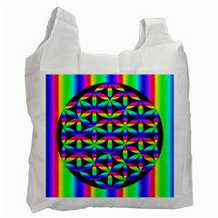 Rainbow Flower Of Life In Black Circle Recycle Bag (one Side)
