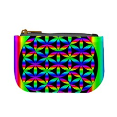 Rainbow Flower Of Life In Black Circle Mini Coin Purses by Nexatart