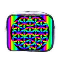 Rainbow Flower Of Life In Black Circle Mini Toiletries Bags by Nexatart