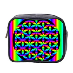 Rainbow Flower Of Life In Black Circle Mini Toiletries Bag 2 Side by Nexatart