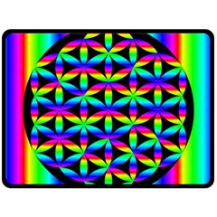 Rainbow Flower Of Life In Black Circle Fleece Blanket (large)  by Nexatart