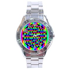 Rainbow Flower Of Life In Black Circle Stainless Steel Analogue Watch