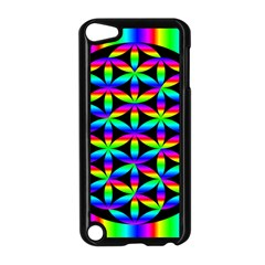 Rainbow Flower Of Life In Black Circle Apple Ipod Touch 5 Case (black) by Nexatart