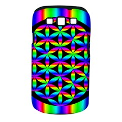 Rainbow Flower Of Life In Black Circle Samsung Galaxy S Iii Classic Hardshell Case (pc+silicone) by Nexatart
