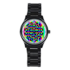 Rainbow Flower Of Life In Black Circle Stainless Steel Round Watch