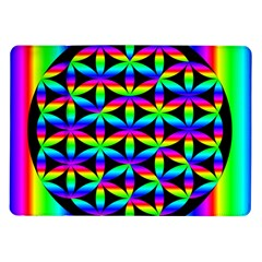 Rainbow Flower Of Life In Black Circle Samsung Galaxy Tab 10 1  P7500 Flip Case