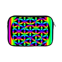 Rainbow Flower Of Life In Black Circle Apple Ipad Mini Zipper Cases by Nexatart