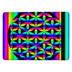 Rainbow Flower Of Life In Black Circle Samsung Galaxy Tab Pro 12 2  Flip Case