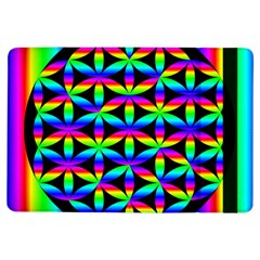 Rainbow Flower Of Life In Black Circle Ipad Air Flip by Nexatart
