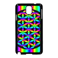 Rainbow Flower Of Life In Black Circle Samsung Galaxy Note 3 Neo Hardshell Case (black) by Nexatart