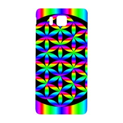 Rainbow Flower Of Life In Black Circle Samsung Galaxy Alpha Hardshell Back Case by Nexatart
