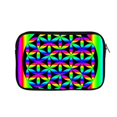 Rainbow Flower Of Life In Black Circle Apple Macbook Pro 13  Zipper Case by Nexatart