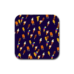 Seamless Ice Cream Pattern Rubber Coaster (square)  by Nexatart