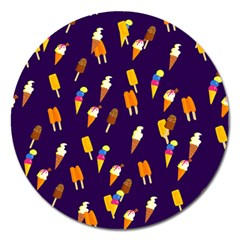 Seamless Ice Cream Pattern Magnet 5  (round) by Nexatart